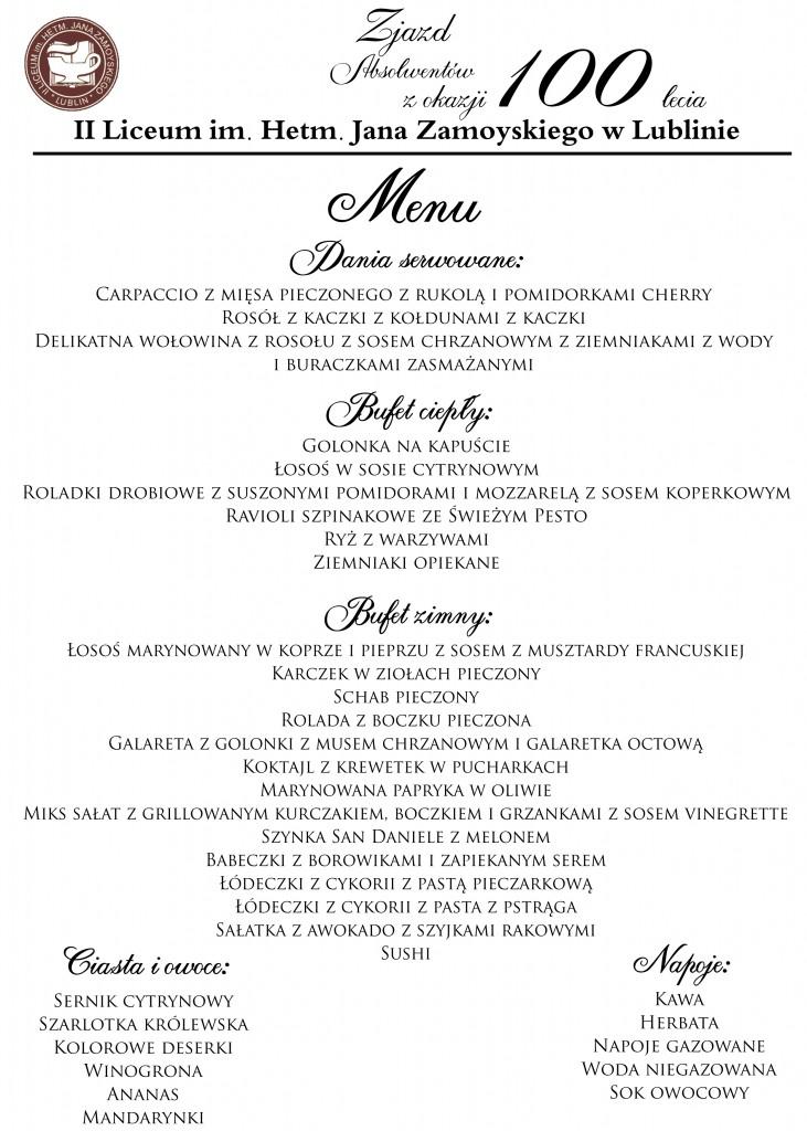 zamoy plakat menu