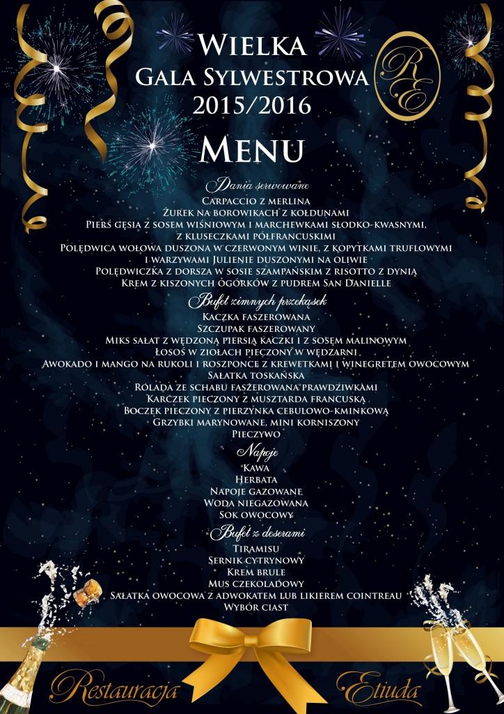 sylwester plakat menu